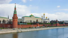 beautiful views of the Kremlin Embankment and the ancient Moscow Kremlin - stock footage