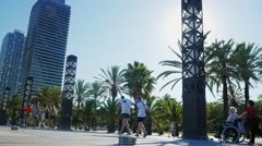Barcelona, Spain : The street along the waterfront of Barcelona - stock footage