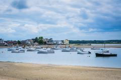 Boats in Hampton Harbor, in Hampton Beach, New Hampshire. Stock Photos