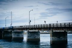 Bridge over Hampton Harbor Inlet in Hampton Beach, New Hampshire. Stock Photos