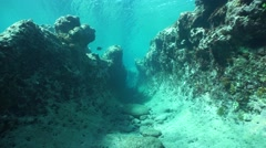 Moving underwater in a trench on the ocean floor - stock footage