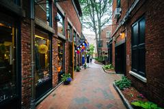 Commercial Alley, in Portsmouth, New Hampshire. Stock Photos