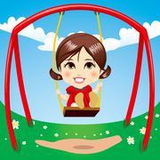Sweet Girl Swinging Stock Illustration