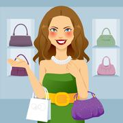 Beautiful Shopaholic Woman - stock illustration