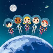 Children Astronaut Dream - stock illustration