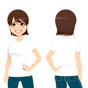 Beautiful Woman T-shirt - stock illustration