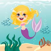 Beautiful Mermaid Girl - stock illustration
