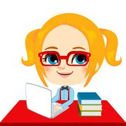 Geek Girl Student - stock illustration