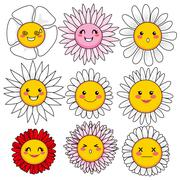 Funny Flower Faces - stock illustration