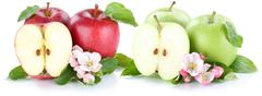 Apple fruit apples fresh fruits red green sliced isolated on white Stock Photos