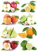 Fruits apple orange nectarine apples oranges fresh fruit collection isolated  Stock Photos