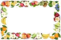 Fruits apple orange apples oranges fresh fruit frame copyspace copy space - stock photo