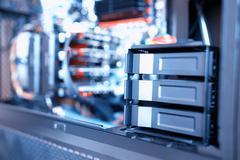 Horizontal data storage array bokeh background Stock Photos