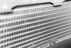 Diagonal black and white grid bokeh background Stock Photos