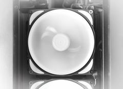 Horizontal black and white rotating computer cooler background Stock Photos