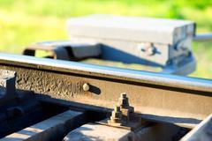 Railway maintenance toolkit bokeh background Stock Photos