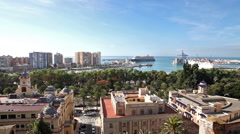 Cityscape of Malaga in Spain Stock Footage