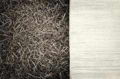 Horizontal vintage sepia picnic bamboo bedding on grass backgrou Stock Photos