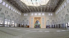Expansive interior of Kota Kinabalu City Mosque in Borneo, Malaysia Stock Footage