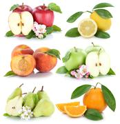 Fruits apple orange lemon peach apples oranges fresh fruit collection isolate - stock photo