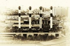 Horizontal vintage sepia industrial chimneys Moscow cityscape ba - stock photo