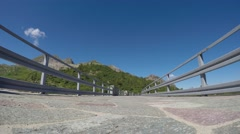 "Walkway on the upper part of the dam ""Laghi Gemelli"" (twin lakes) Stock Footage"