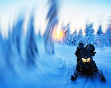 Snowmobile swirl abstraction background - stock photo