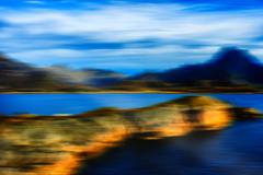 Norway gulf fjord horizontal landscape abstraction Stock Photos