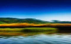 Horizontal riding speed boat on river abstraction Stock Photos