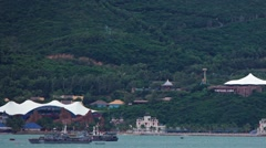 Vinpearl Land's enormous sign over the harbor at Nha Trang, Vietnam. - stock footage