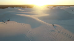 Aerial of Desert Dunes at Sunset in Atlantis, Cape Town Stock Footage
