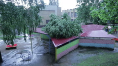 13.07.2016, Minsk, Belarus. The consequences of the hurricane in Minsk Stock Footage
