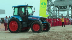 Tractor operator on special track for slalom Stock Footage