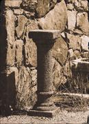Vertical antique pedestal bokeh design postcard composition Stock Photos