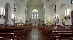 Ornate interior of a Christian cathedral in Macau. Footage 1920x1080 - stock footage