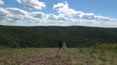 bride and groom standing on the background of beautifull Mountain View - stock footage
