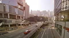 View on the street in Hong Kong. FullHD video Stock Footage