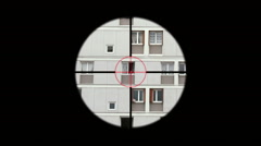 Sniper Rifle Aiming Person In Window, Telescopic Sight Stock Footage