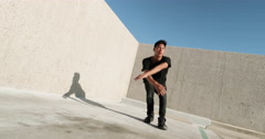 Slow Motion Young Man Break Dancing Outside Stock Footage