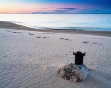 Horizontal vivid photography lens sunset on the beach background Stock Photos