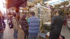 Customers visit famous Fish market in Hong Kong, China Stock Footage