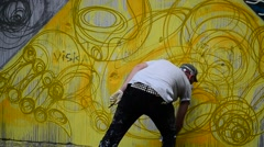 Process of creation of graffiti, fence. Stock Footage