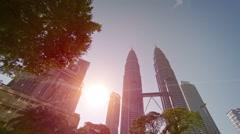 Petronas Towers, is tallest buildings in Kuala Lumpur. FullHD video - stock footage