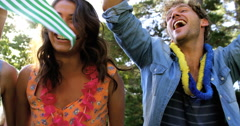 Hipster friends screaming and enjoying Stock Footage