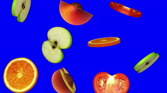 Round slices of fruits falling on blue screen, seamless loop, CG Stock Footage
