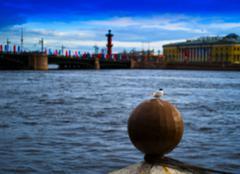Horizontal vivid city Saint Petersburg quay bokeh background bok Stock Photos