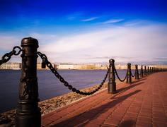 Horizontal vivid Saint Peterburg quay chain fence background - stock photo