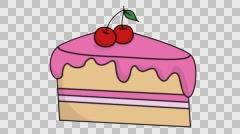 Cake Slice sketch illustration hand drawn animation transparent Stock Footage