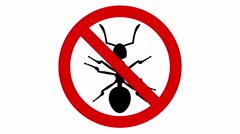 Ant pest in prohibited sign, CG animation - stock footage