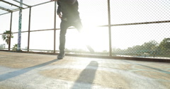 Slow Motion Young Man Breakdancing At Sunset Stock Footage